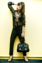 black Fendi bag - black zipper detail Zara pants - black Glitterati blouse