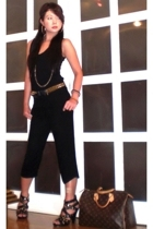 black Glitterati suit - brown Louis Vuitton purse - gold Anthology necklace
