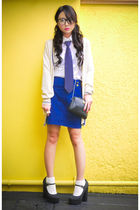 blue buttoned Zara skirt - black Forever 21 shoes - blue christian dior purse