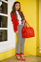 ruby red Mango blazer - red Celine bag - black Topshop pants - red Zara heels