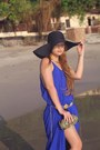 Blue-before-twelve-dress-black-zara-hat-black-emilio-pucci-bag