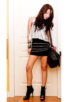 black online boots - black fringed studded random brand bag