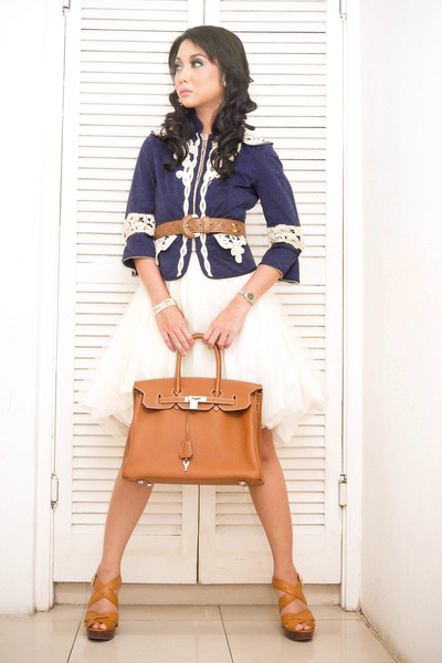 brown birkin Hermes bag - brown Michael Kors shoes - white dress
