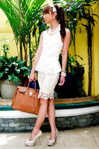 ivory H&M blouse - tawny Hermes bag - ivory lace pencil Zara skirt