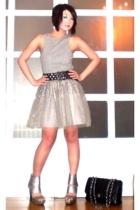 black Zara belt - silver shoes - black 255 jumbo Chanel bag
