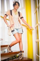 beige Forever21 cardigan - beige Renegade Folk shoes