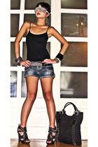 silver DIY glasses - black online shoes - black studded tote Random form HK bag
