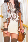 Cream-zara-shirt-burnt-orange-topshop-bag-brown-thigh-high-knit-topshop-sock