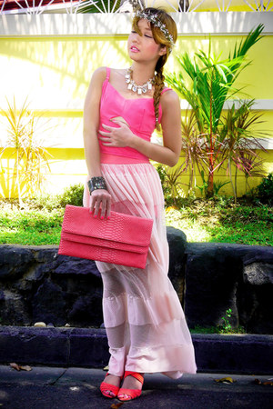 salmon GOLD COUTURE bag - eggshell With Love skirt - salmon pinkaholic top