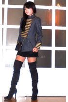 Glitterati blazer - Zara dress - online boots - christian dior purse
