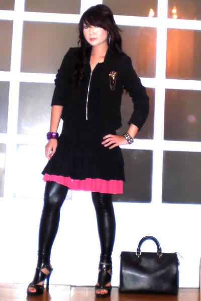 pink ruffled Granville HongKong skirt - black Dorothy Perkins dress