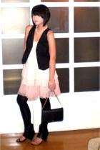 black Zara vest - black Monica Fig shoes - pink Glitterati dress