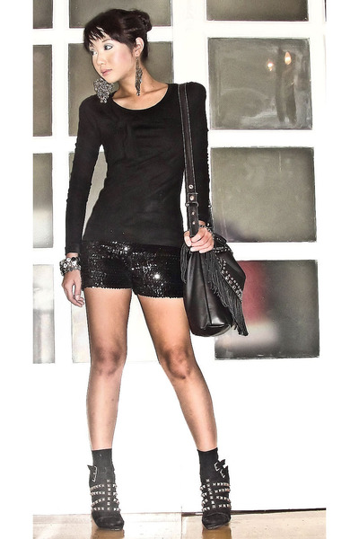 black Zara blouse - black Zara shoes - black Chick Flick bag - black M&S socks