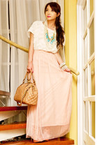 light pink chiffon maxi Forever21 skirt - nude stam Marc Jacobs bag