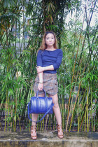 brown ami clubwear boots - navy Zara shirt - navy Givenchy bag - tan Zara skirt