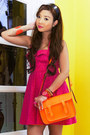 Orange-cambridge-bag-hot-pink-forever-21-dress-orange-tonic-sandals