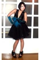 blue satin gloves Terranova gloves - black Topshop shoes