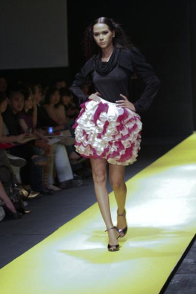 black Sassa Jimenez top - purple Sassa Jimenez skirt