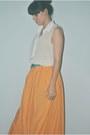 Orange-maxi-skirt-zara-skirt-white-sheer-top