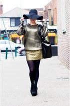gold gold mini Topshop skirt - black chelsea boots asos boots - black H&M hat