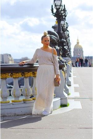 cream maxi lace Fashion Pills skirt - ivory conversechucks Converse flats