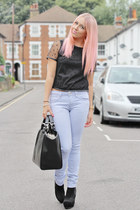 skinny jeans Topshop jeans - shopper Zara bag - polka dot Lashes of London top