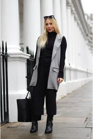 heather gray waistcoat Topshop coat - black knee boots Topshop boots