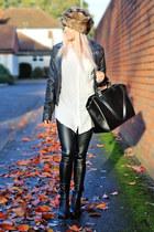 black chelsea boots asos boots - faux fur Accessorize hat - boyfriend H&M shirt