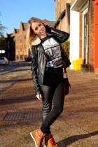 black leather Dorothy Perkins jacket - black H&M leggings