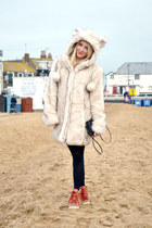 beige faux fur asos coat - camel hi tops asos wedges
