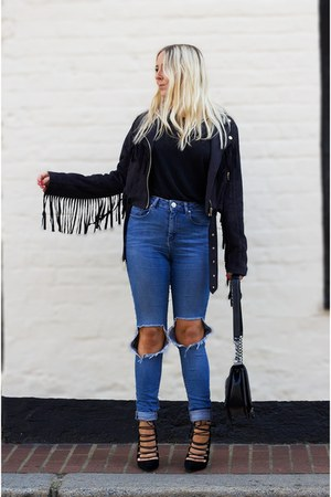 black suede biker Missguided coat - blue skinny ripped asos jeans