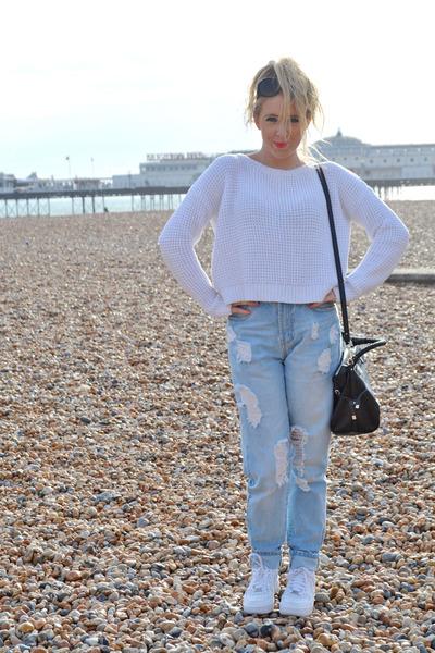 white crop Topshop jumper - blue boyfriend asos jeans