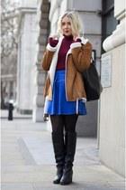 blue denim Moschino skirt - black Topshop boots - maroon asos jumper