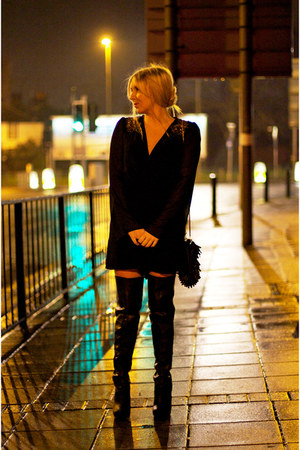 black thigh high new look boots - black playsuit Little Mistress dress