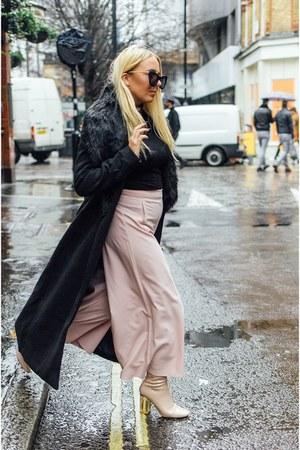black faux fur Missguided coat - cream perspex Public desire shoes