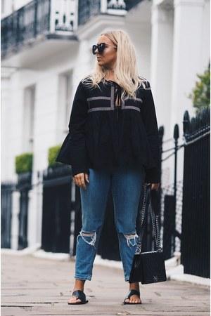 black chanel boy bag Chanel bag - navy skinny jeans asos jeans