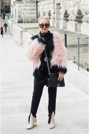 bubble gum faux fur River Island coat - cream ankle boots Public desire boots
