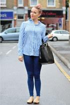 nude ballerina Zara flats - blue joni skinny Topshop jeans