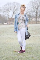 heather gray animal print brat and suzie t-shirt - periwinkle Topshop jeans