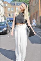 black crop top tank Topshop top - white vintage skirt