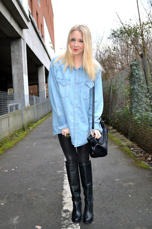 blue denim H&M shirt - black leather Topshop boots - black Topshop leggings
