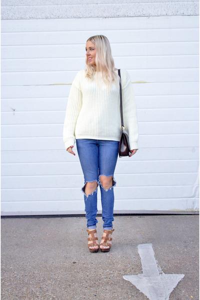 cream Missguided jumper - blue denim ripped asos jeans