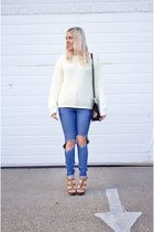 cream Missguided jumper - blue denim ripped asos jeans