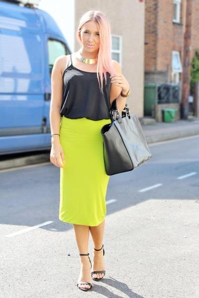 chartreuse midi tube Topshop skirt - black shopper leather Zara bag