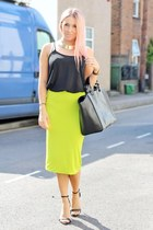 chartreuse midi tube Topshop skirt - black shopper leather Zara bag