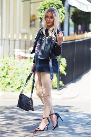black new look shoes - black leather Missguided coat - black boy bag Chanel bag