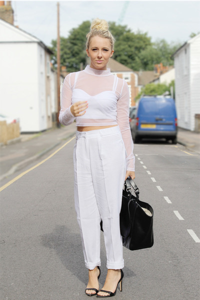 white crop top mesh Motel Rocks top - white peg leg asos pants