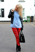 red tartan Daisy Street leggings - black cut out shelikescom boots