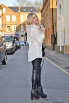 white sheer tassel warehouse shirt - black leather warehouse leggings