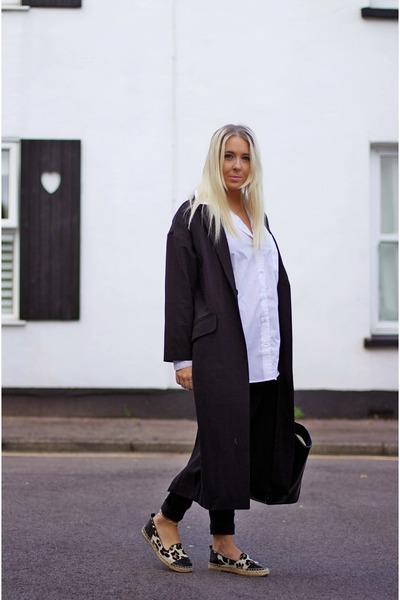 black duster maxi asos jacket - black skinny All Saints jeans - white asos shirt